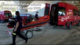 Continúan las labores de búsqueda del desaparecido cuando nadaban en el Ebro