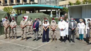 Lambán visita la carpa de triaje del Hospital Clínico de Zaragoza
