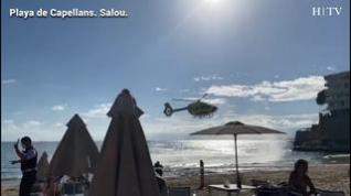 Rescate de un herido en Playa de Capellans, Salou