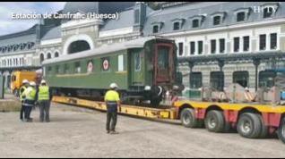 Movimiento de vagones en la estación de Canfranc