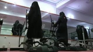 Elíptica con burka para mujeres afganas