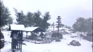 Imágenes de las primeras nevadas en Llanos del Hospital