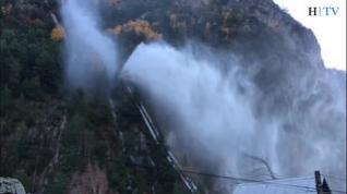 Revienta la tubería de una central hidroeléctrica en Bielsa