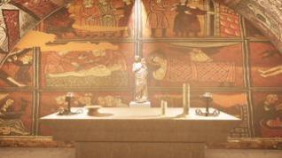 Recreación del aspecto que en su día pudo tener la cripta del castillo de Montearagón