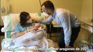 Nace en Alcañiz Nicolás, el primer bebé aragonés de 2021