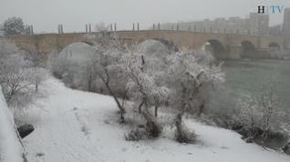 Zaragoza amanece cubierta por la nieve