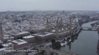 La nieve en Zaragoza, a vista de dron