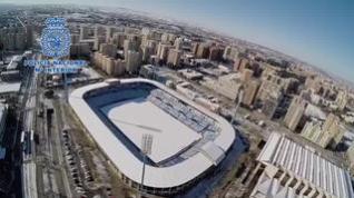 Zaragoza, aún con nieve, desde el aire