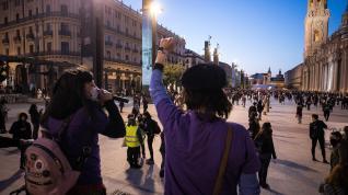 Marchas y concentración en la plaza del Pilar de Zaragoza.