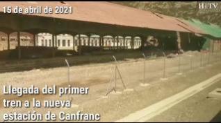 Así ha sido la llegada del primer tren a la nueva estación de Canfranc