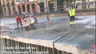 Comienzan a desmontar la losa que cubre el parquin de la plaza Salamero de Zaragoza