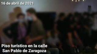 Macrofiesta en un bloque de pisos turísticos de Zaragoza