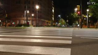 Una postal del centro de Zaragoza durante el toque de queda