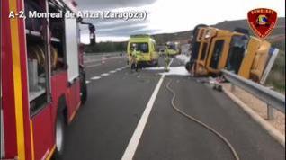 Un hombre resulta herido tras volcar con el camión en el término municipal de Monreal de Ariza.