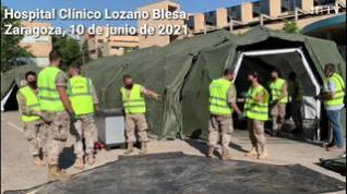 Comienza el desmontaje de la carpa instalada en el aparcamiento del Clínico de Zaragoza