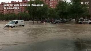 Primeras imágenes de las calles tras el paso de la tormenta en Zaragoza