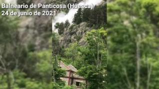 Espectacular desprendimiento en el balneario de Panticosa