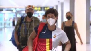 Carla Suárez llega a Barcelona tras caer eliminada en cuartos de los Juegos Olímpicos