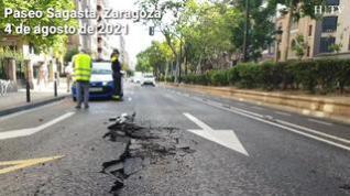 Reventón de una tubería en el paseo de Sagasta de Zaragoza