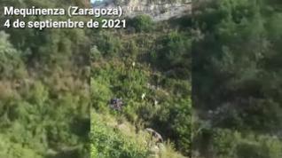 Un conductor herido en Mequinenza tras salirse de la carretera y caer por un barranco