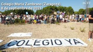 Protesta en el Colegio María Zambrano de Zaragoza para pedir la construcción del nuevo centro