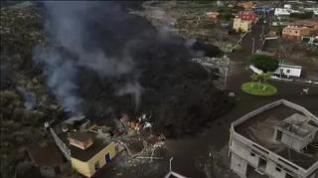 Las imágenes aéreas reflejan la llegada de la lava a Todoque