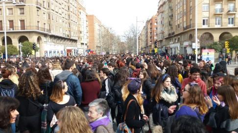 Huelga feminista del 8M en la Universidad de Zaragoza.