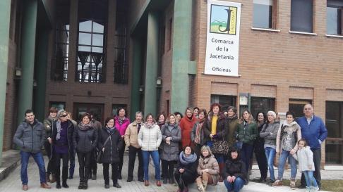 Concentración en la Comarca del Jacetania por la huelga feminista del 8M.