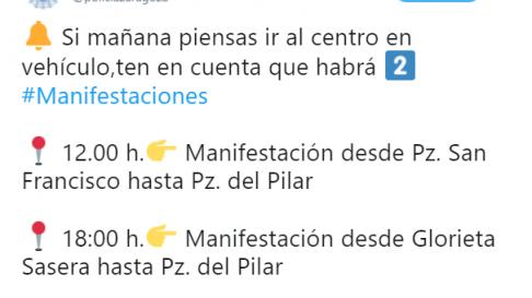 La Policía Local de Zaragoza recuerda las afecciones al tráfico de la huelga en su Twitter.
