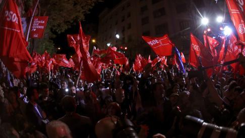 Celebración electoral de la victoria del PSOE.