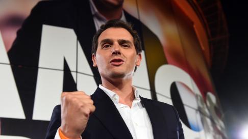 El líder de Ciudadanos, Albert Rivera, celebra los resultados electorales de la formación naranja.