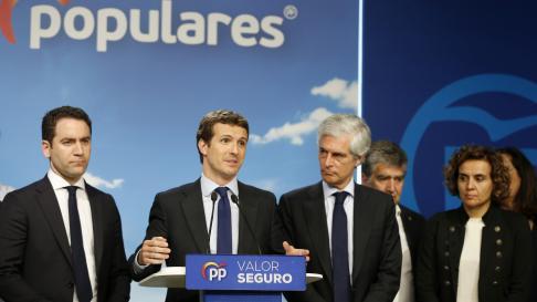 Pablo Casado en declaraciones tras conocer los resultados electorales.