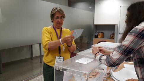 La cabeza de lista de Espacio Municipalista  (EM) –candidatura auspiciada por Podemos e independientes- al Ayuntamiento de Teruel, Blanca Villarroya.