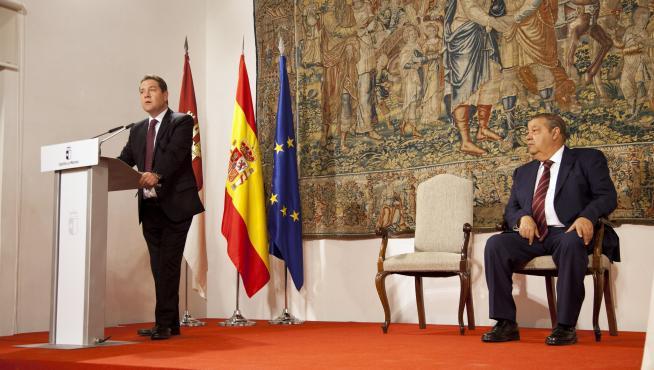 García-Page, en el acto donde se ha rubricado su acuerdo con Podemos