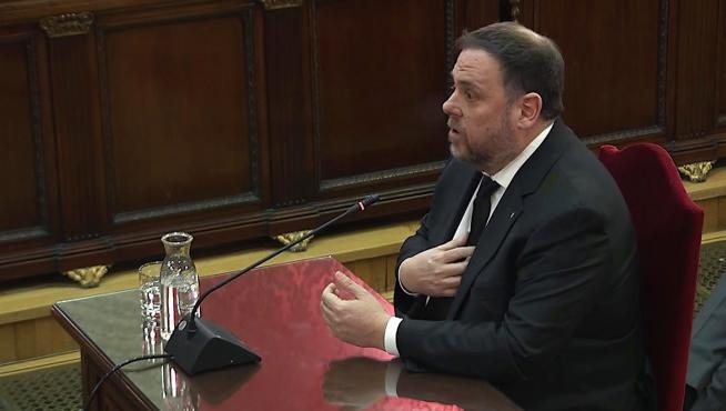 Oriol Junqueras durante su declaración
