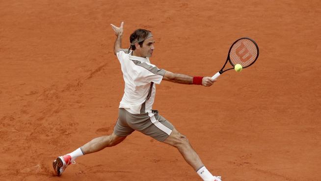 Federer en su partido frente a Nadal.