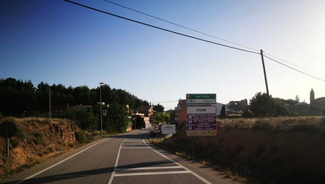 La entrada a Hijar, desde la carretera de Samper de Calanda