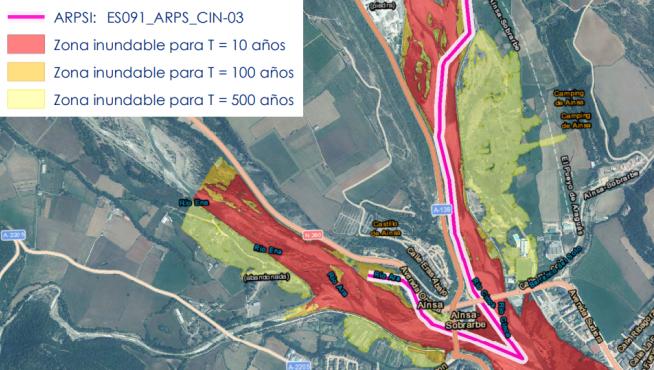 Área de riesgo potencial significativo de inundación en Aínsa.