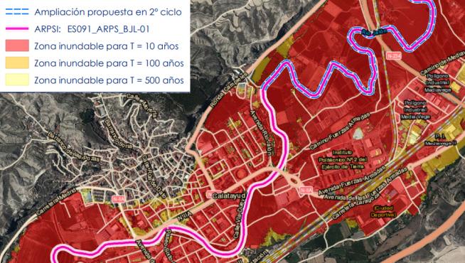 Área de riesgo potencial significativo de inundación en Calatayud.