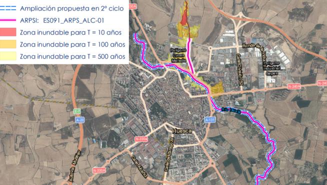 Área de riesgo potencial significativo de inundación en Huesca.