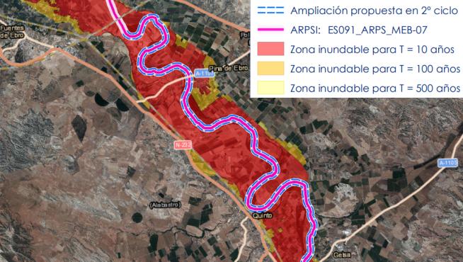 Área de riesgo potencial significativo de inundación en la Ribera Baja del Ebro.