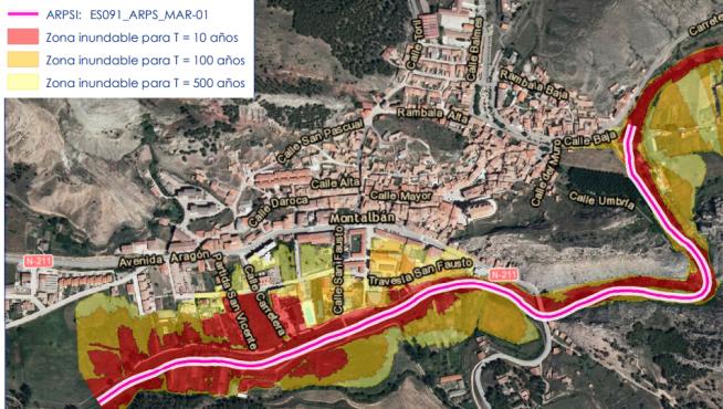 Área de riesgo potencial significativo de inundación en Montalbán.