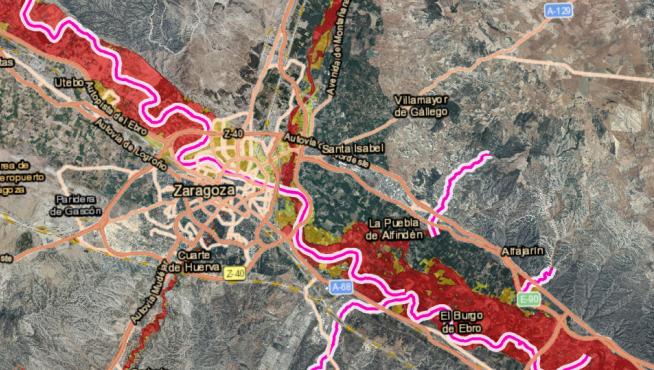 Área de riesgo potencial significativo de inundación en Zaragoza (Ebro)