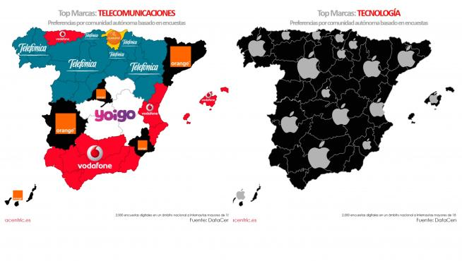 Mapa preferencias marcas tecnología Datacentric