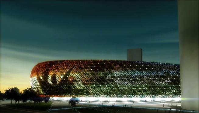 Recreación del estadio de San José diseñado por Joaquín Sicilia.