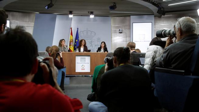 Rueda de prensa del Consejo de Ministros que se ha celebrado este martes.
