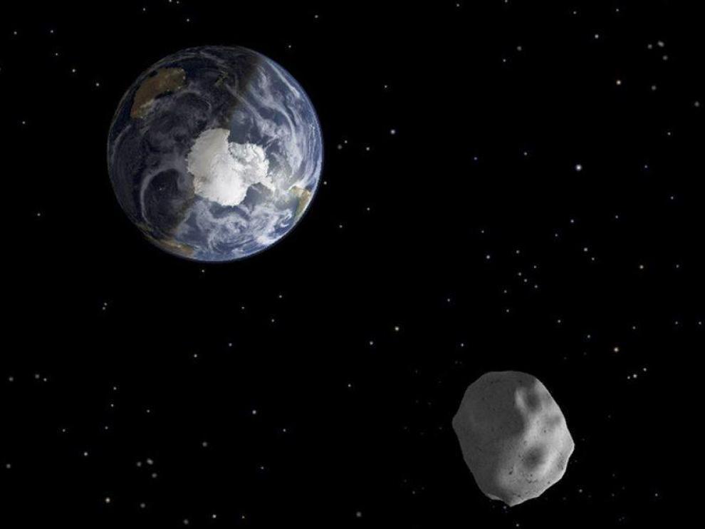 Recreación de un asteroide cerca de la Tierra