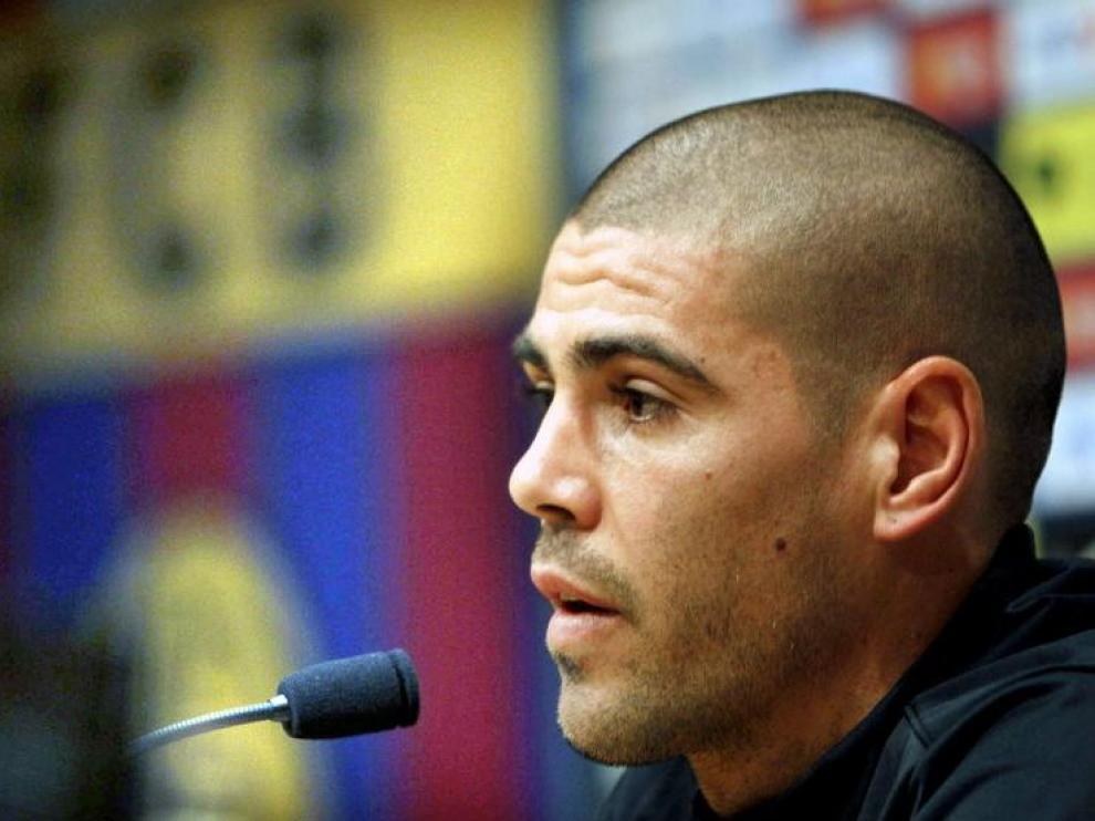 El portero titular del Barça, Víctor Valdés