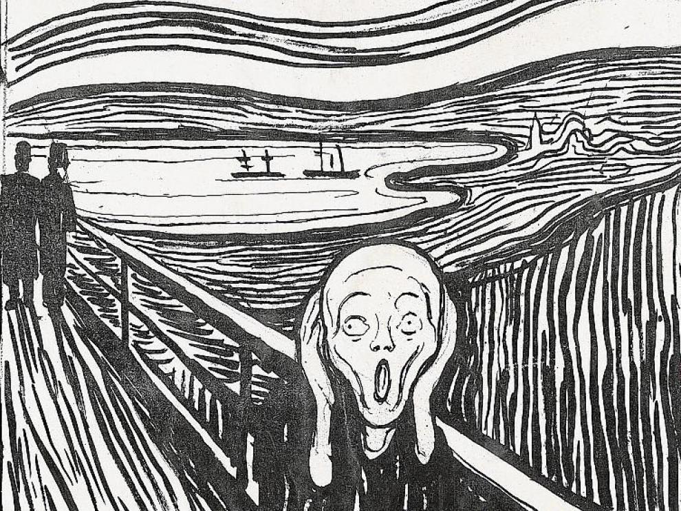 'El grito', de Edvard Munch. Lápiz litográfico y tinta china. 1895.