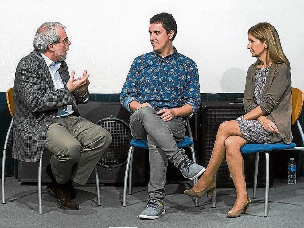 Fernando Torres, Pablo Aragüés y Loreto González-Dopeso, el pasado jueves en la Filmoteca.